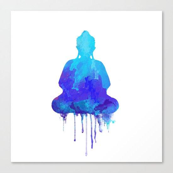 Watercolor zen Buddha blue Canvas Print
