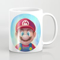 mario kart Mugs featuring Mario Portrait by Laurence Andrew Page Illustrator