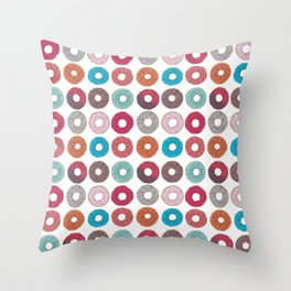 Colourful, illustrated, glazed, sprinkle Donut pattern Throw Pillow