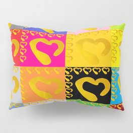 Gold Hearts on colorful Stamp Pillow Sham