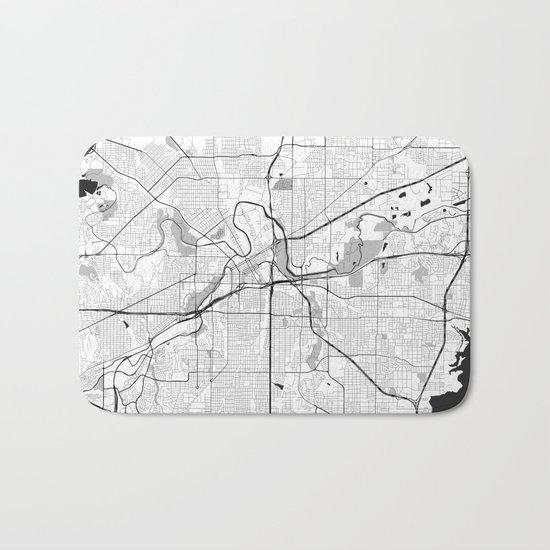 Fort Worth Map Gray Bath Mat
