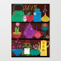 calender Canvas Prints featuring Calender 2013 Shelf by Elisandra