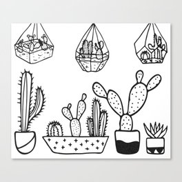 Cactus Garden Black and White Canvas Print