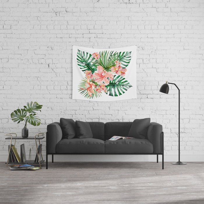 Tropical Jungle Hibiscus Flowers - Floral Wall Tapestry