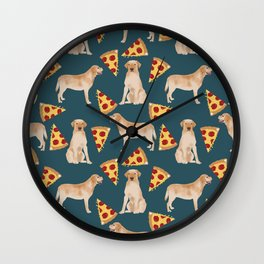 Yellow Labrador pizza cheesy slice of pizza food trendy pet gifts for yellow lab owners dog breed Wall Clock