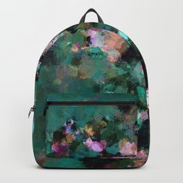 Contemporary Abstract Wall Art in Green / Teal Color Backpack