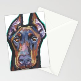 Fun Doberman Pinscher Dog Portrait bright colorful Pop Art by LEA Stationery Cards