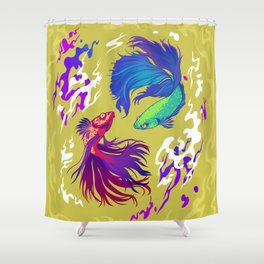 fighting fish Shower Curtain