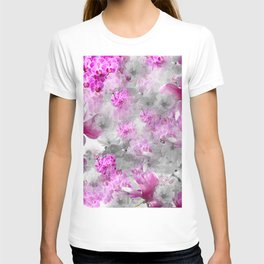 CHERRY BLOSSOMS ORCHIDS AND MAGNOLIA IMPRESSIONS IN PINK GRAY AND WHITE T-shirt
