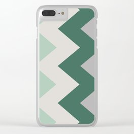 Sideways Chevron (Shades of Green and Grey) Clear iPhone Case