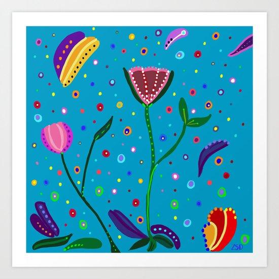 Flowers at Dusk, drawing Art Print