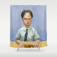 dwight Shower Curtains featuring Dwight by Richtoon