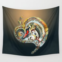 Golden Love Wall Tapestry