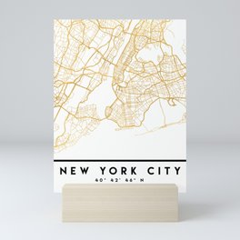NEW YORK CITY NEW YORK CITY STREET MAP ART Mini Art Print