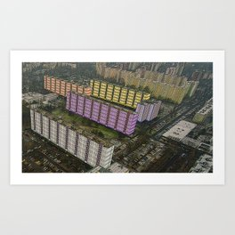 Colorful Block Buildings - Bekasmegyer - Budapest Art Print
