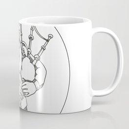 Scottish Bagpiper Doodle Art Coffee Mug