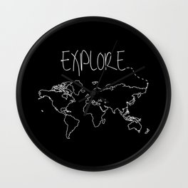 Explore World Map Wall Clock