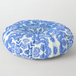 Cobalt Blue & China White Folk Art Pattern Floor Pillow