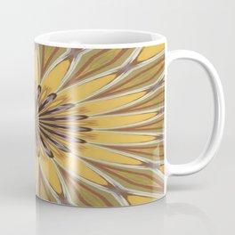 Yellow and Ochre Flower Pattern Abstract Coffee Mug