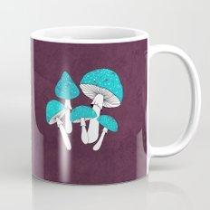 Blue mushrooms field on plum violet Mug