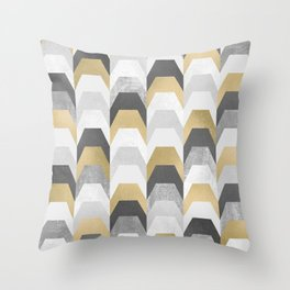Stacks of Gold and Grey Throw Pillow