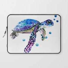 Sea Turtle, blue purple illustration children room cute turtle artwork Laptop Sleeve