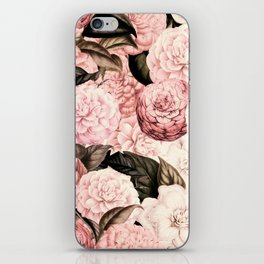 Vintage & Shabby Chic Pink Floral camellia flowers watercolor pattern iPhone Skin