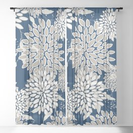 Leaves and Blooms, Blue and Gray Sheer Curtain