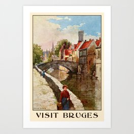 Vintage retro style Bruges travel advertising Art Print