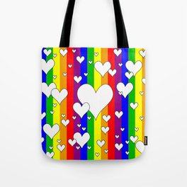 Gay flag with the colors of the rainbow with hearts Tote Bag