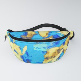 splash painting texture abstract background in blue and yellow Fanny Pack