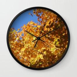 Fall leaves yellow Wall Clock