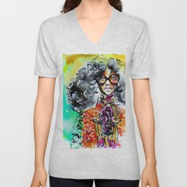 Retro colorful fashion illustration Unisex V-Neck