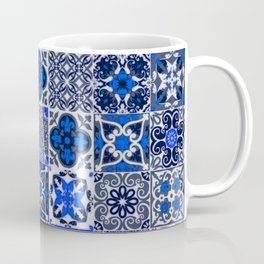 -A34- Blue Traditional Floral Moroccan Tiles. Coffee Mug