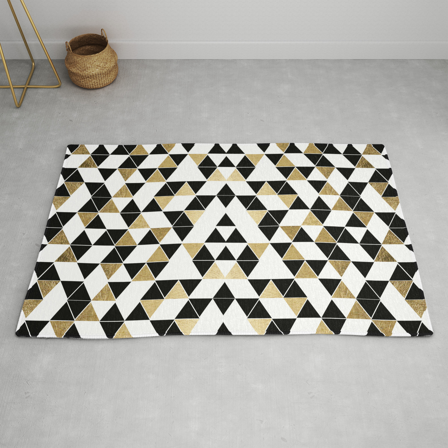 Image of: Modern Black White And Faux Gold Triangles Rug By Blackstrawberry Society6