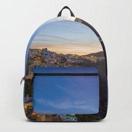 Oia village  Santorini Island at sunset Backpack