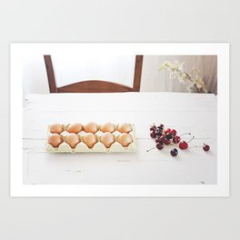 Cherries and eggs Art Print