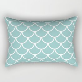 Chalky Blue Fish Scales Pattern Rectangular Pillow