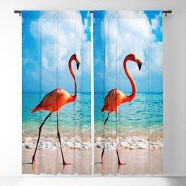 Amazing Awesome Pink Flamingo Walking Along Beach Ultra HD Blackout Curtain