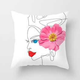 One Line Woman Throw Pillow