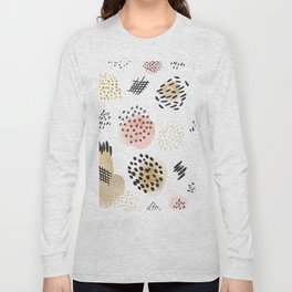 Mid Century Modern Abstract Blush and Gold Pattern Long Sleeve T-shirt