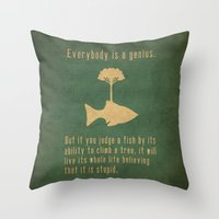 text Throw Pillows featuring Einstein by Tracie Andrews