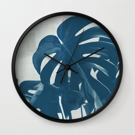 Blue Monstera #2 Wall Clock