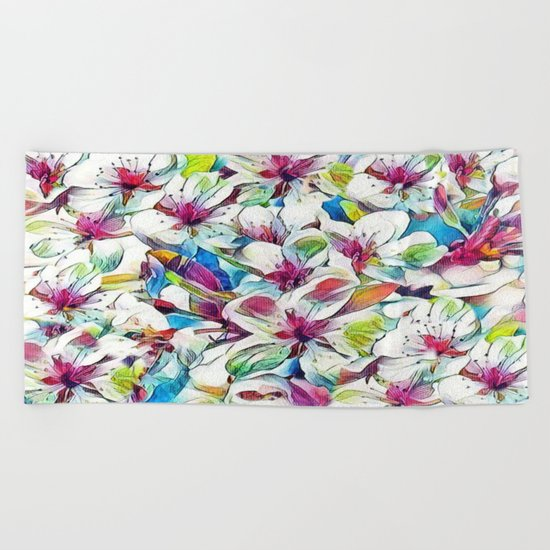 Joyful Spring Floral Abstract Beach Towel