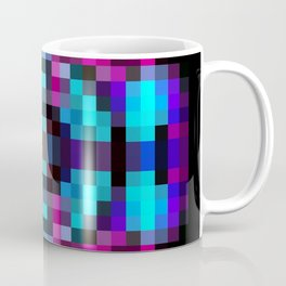 geometric square pixel abstract in orange blue pink with black background Coffee Mug