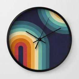Double Rainbow on Blue Wall Clock