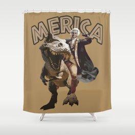 George Washington Riding a Tyrannosaurus Rex Shower Curtain