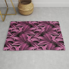 Cordyline Princess Margaret Watercolor Hot Pink Pattern Rug