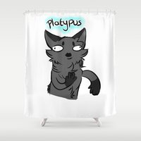 platypus Shower Curtains featuring Platypus by MMAD_and_Icepetal