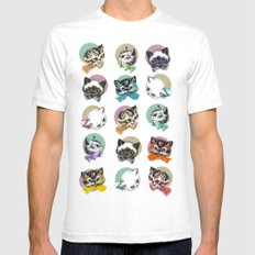 Cats & Bowties White Mens Fitted Tee LARGE
